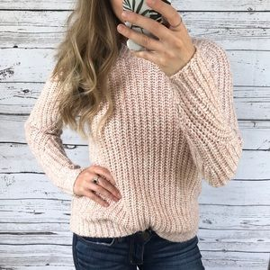 A New Day Blush Marled Chunky Knit Wool Sweater